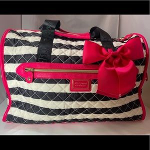 Betsey Johnson Overnight Bag striped bow NWOT